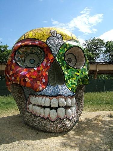 Giant rainbow skull
