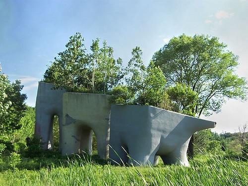 tooth sculpture in Canadian wetlands