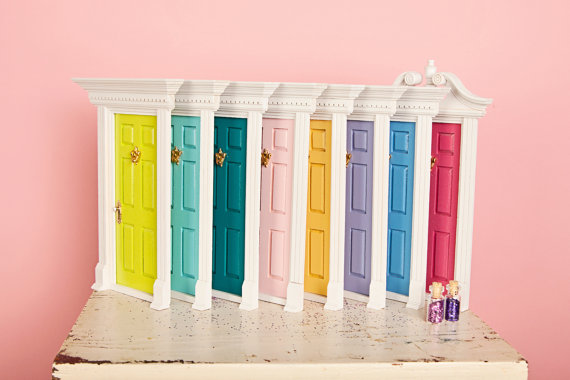 multi colored fairy doors