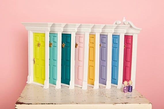 multi colored fairy doors