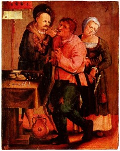 Painting of a renaissance dentist performing dental surgery