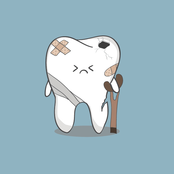 Cartoon crippled tooth