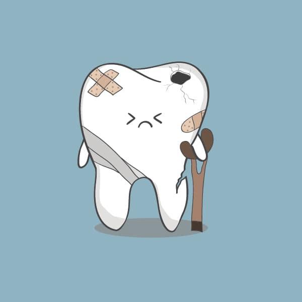 Cartoon crippled tooth